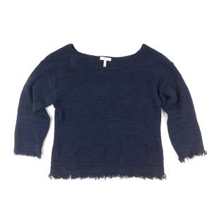 Joie boxy crop fringe hem cuff navy blue sweater